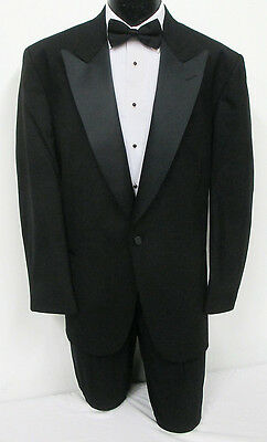 New Black One Button Tuxedo With Matching Pants Wedding Prom 50 Portly Long