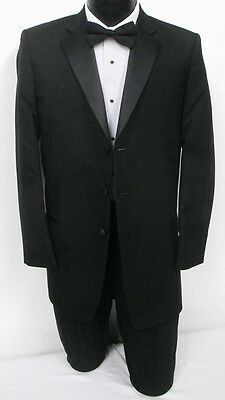 New Black Three Button Tuxedo With Matching Pants Wedding Prom 50 Portly Long