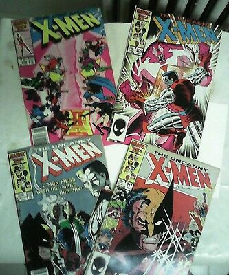 The uncanny x-men issues #208 209 210+211 comic book lot(Marvel,1980s)