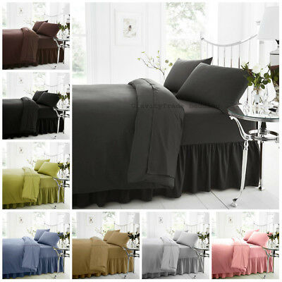 Non Iron Plain Flat Fitted & Valance Bed Sheets Percale Single Double Super King