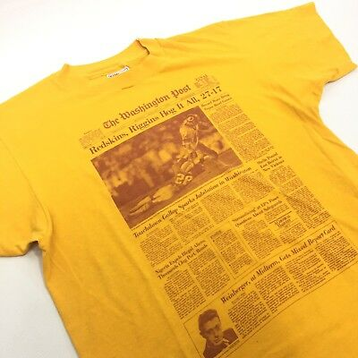 REDSKINS T-shirt VTG Yellow Newspaper Clipping Riggins Hot It All 50/50 Blend M