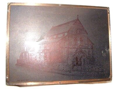Vintage Copper  Negative Photographic Printing Plate Press Tabernacle Chapel
