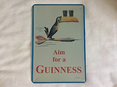 COOL BREWERIANA: Aim For a Guinness Bird on Dart Metal Beer Sign NEW 8 x 11-3/4