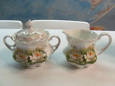 Antique China Creamer And Sugar Bowl Lotus Pond Lily Flowers