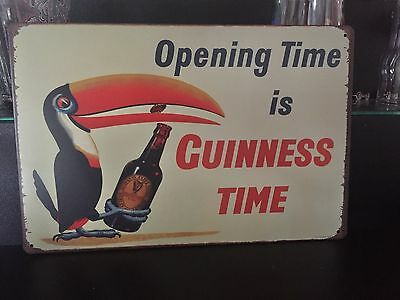 COOL BREWERIANA: Opening Time Is Guinness Time Metal Beer Sign NEW 8 x 11-3/4