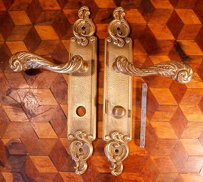 VINTAGE Pair French Brass Door Handles Backplates With Thumb Lock Chateau Rococo