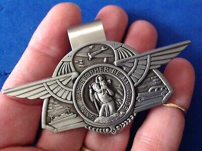 St Christopher VISOR CLIP Auto Boat Plane Protection Saint Pewter Medal Wings