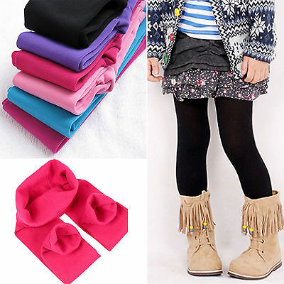 Kids Girls Winter Warm Thick Fleece Leggings Lined Child Cotton Trousers Pants