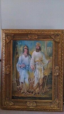 art original painting Persian King Cyrus the Great (Kourosh) and Princess