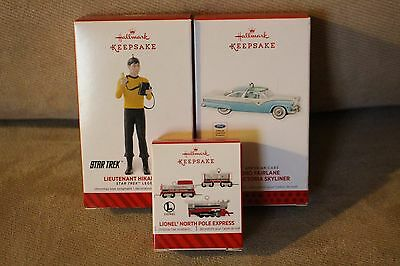 Hallmark Ornament Lot 148-Classic Cars,Star Trek, Lionel Trains