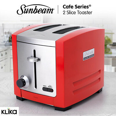 Sunbeam Cafe Series 2 Slices Toaster Stainless Steel Kitchen Appliance - Red