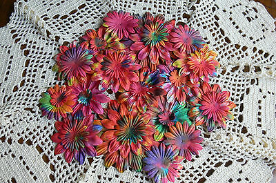BATIK BRIGHTS Mixed Size 22-95mm GERBERA DAISY PETALS Paper - 27 Pack GreenTara