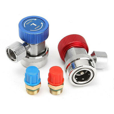 AC R134a Quick Coupler Connector Adapter With Caps For A/C Manifold Gauge Set