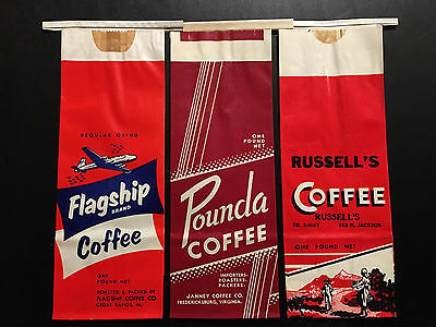 Vintage Ten (10)  Piece Mixed Lot of Coffee Bags -1950 - 1960
