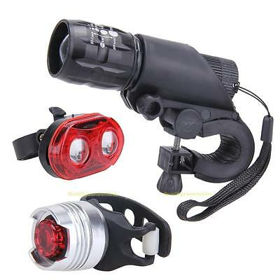 Bike Bicycle Flashlight Quick Release Mounts Front Head Light + Rear Tail Light