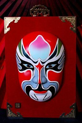 """12.5"""" Chinese OPERA MASK * Hand Painted Porcelain * Asian Facial Face totem BL"""