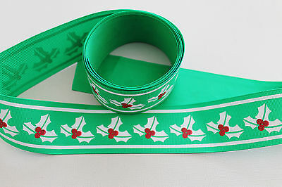 2M - Christmas Grosgrain Ribbon 4cm wide - Craft, Bows, Decorations, Card Making