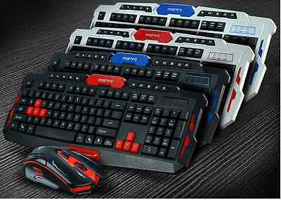 White and Red Wireless Ergonomic Keyboard and Mouse Set for PC/Mac/TV Box, Xbox