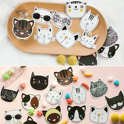 45pcs Cat Head Sticker Sticky Note Message Pad Memo Bookmark Post It Stationery