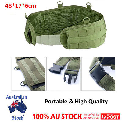 Army Green Outdoor Military Battle Belt Padded Molle Waist Pouches Hunting Bag
