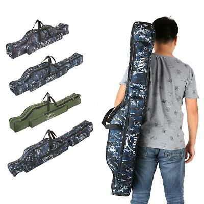Portable Double Layer Fishing Tackle Bag 90/110cm/120cm Rod Lures Bag New D1K3