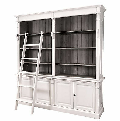 massivholz bibliothek wei lasiert kiefer b cher regal wand schrank standregale eur. Black Bedroom Furniture Sets. Home Design Ideas