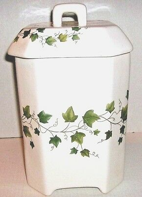 Ceramic Decorative Canister White Ivy Printed Size L