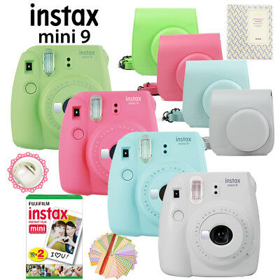 Fujifilm Instax Mini 9 Camera + 20 Photos Fuji Instant Film + Bag + Album + Gift