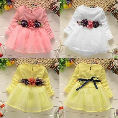 Pretty Newborn Baby Girls Party Long Sleeve Prom Elegant Dress Tutu Clothes Set
