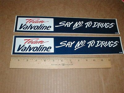 2 Team Valvoline Say No to Drugs 1980s drag racing decal sticker bumpersticker