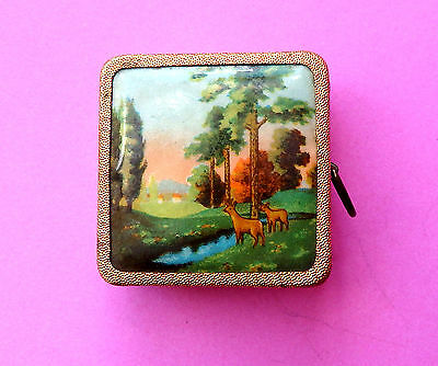 Vintage Gilded Brass Retracting Sewing Tape Measure,deer In Country Scene