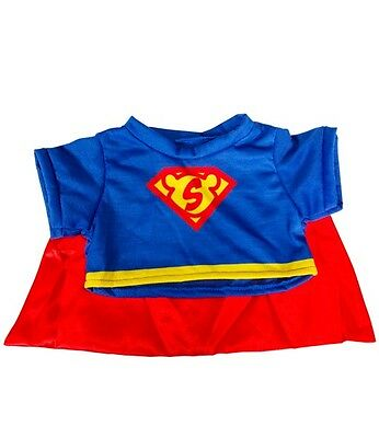 "Super Bear T-shirt with cape outfit teddy clothes fits 15"" Build a Bear"