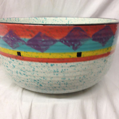 "Treasure Craft Paradise 9 1/2"" Salad Serving Bowl Blue Speckled Diamonds"