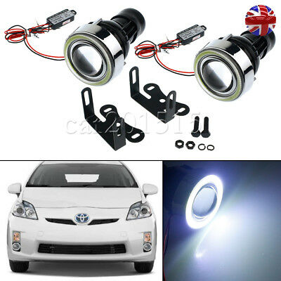 "Universal 3"" 40 LED Car Projector Fog Light Lamps Halo Angel Eyes Rings UK FAST"