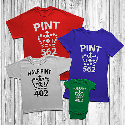 Pint And Half Pint T Shirt Son Child Dad Mum Daughter Mens Womens Kids