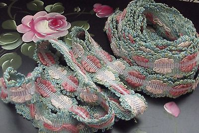 EXQUISITE Antique French SILK Picot Passementarie Trim-Pinks-Blues 4 yards