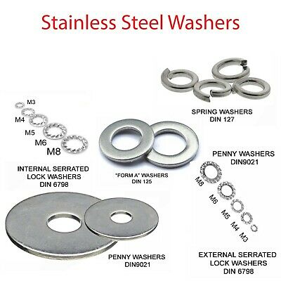 Penny, Form A, Spring, Serrated Lock Washers A2 Stainless Steel Sizes M2 To M10