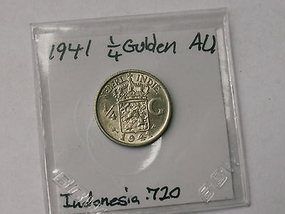 1941 Indonesia 1/4 Gulden .720 Silver Coin ( Nice Au My Opinion )