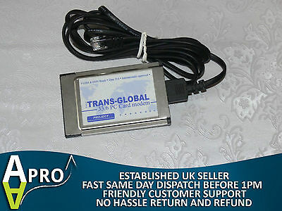 Trans-Global 33.6 Pcmcia Modem & Dongle Laptop Notebook Pcmcia Card Uk Seller