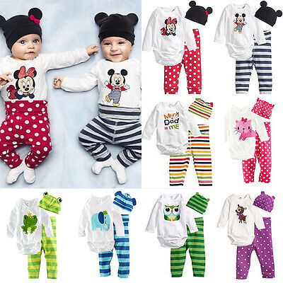 3Pcs Set Newborn Baby Boys Girls Kids Romper Hat Pants Bodysuit Outfits Clothes