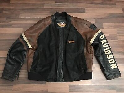 harley davidson lederjacke m beige schwarz eur 139 00. Black Bedroom Furniture Sets. Home Design Ideas