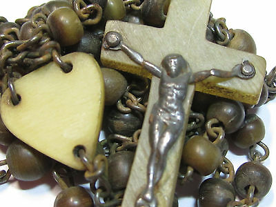 † Antique Irish Monk Made Natural Cattle No Longer Exisit Horn Ireland Rosary †