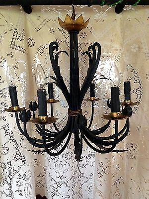 Vintage Toleware 6 Lights Chandelier Flower & Leaves Black Gothic Creepy Metal