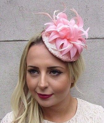 Rose Gold Blush Light Pink Sequin Feather Flower Fascinator Hat Hair Clip 3557