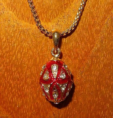 Genuine Russian FABERGE inspired RED ENAMEL Swarovsky Crystals EGG pendant GIFT