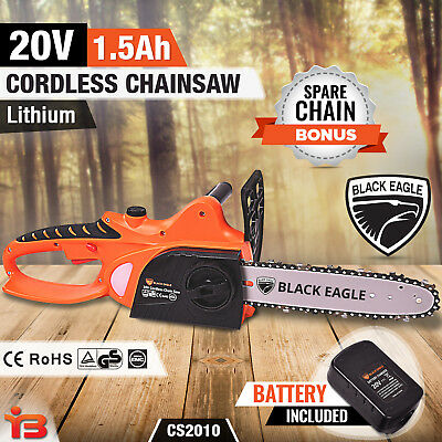 "NEW Black Eagle 20V Cordless Electric Chainsaw 10"" Lithium Pruner Garden"