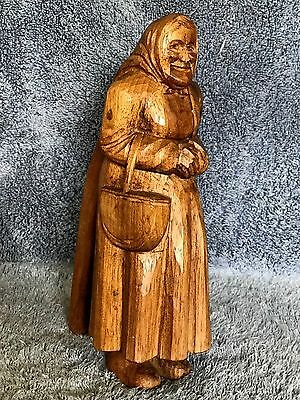 LADY NUTCRACKER w/ BASKET & SCARF Standing Wooden Hand Carved Antique, mid 20thC