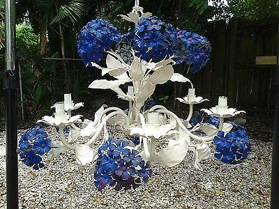 Fabulous Vintage Tole Metal Flowers & Leaves Hydrangea? Chandelier