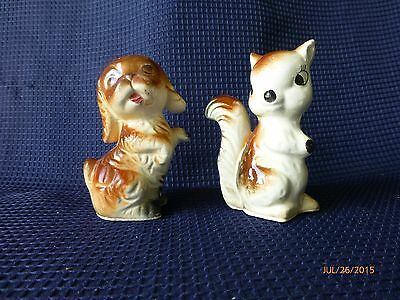 Vintage Japan Figurine Brown Ceramic Glass Squirrel and Puppy figurine Lot of 2