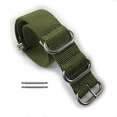 9f5a0a333439 5 Ring Ballistic Army Military Green Nylon Fabric Replacement Watch Band  Strap